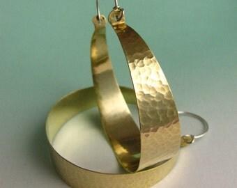 Extra Large Hoops, Statement Earrings, Brass Hoops With Sterling Silver, Big Hoop Earrings, Large Brass Earrings, Extra Large Earrings