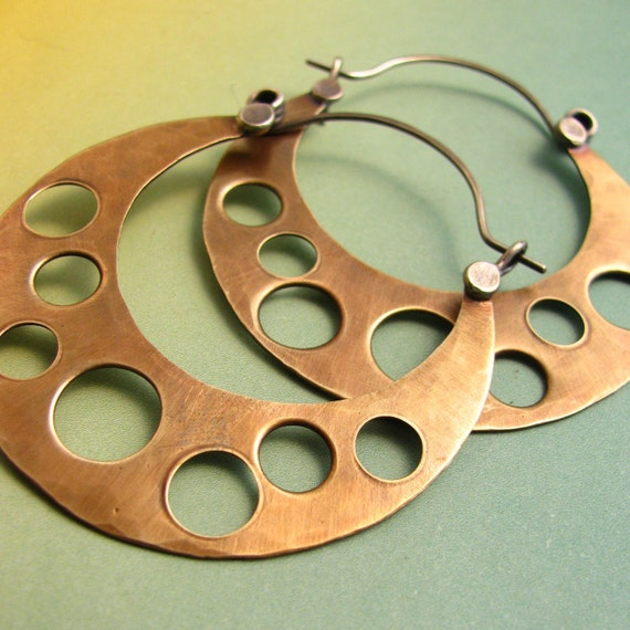 Big Mixed Metal Hoop Earrings - Bronze And Sterling Silver Large Retro Mod Hoops