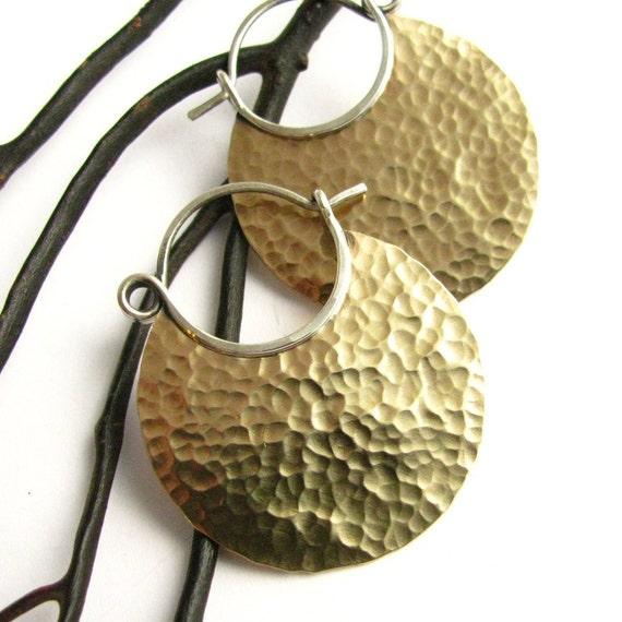 Mixed Metal Hoop Earrings, Sterling Silver And Bronze Metalwork Earrings, Hammered Brass Hoops, Forged Earrings, Metalsmith Jewelry
