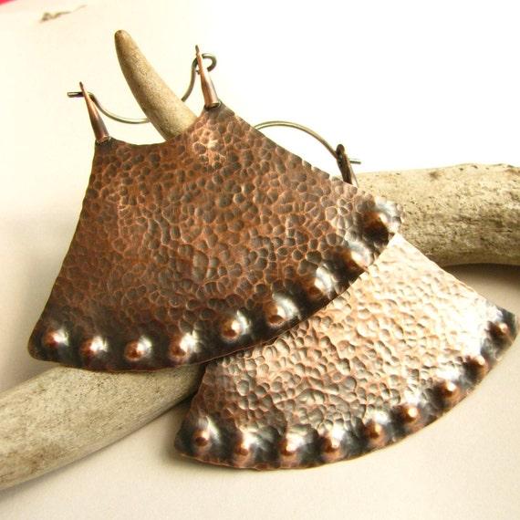 RESERVED FOR B. Large Tribal Earrings - Extra Large Hoop Earrings - Amazonia Tribal Jewelry - Lotus Big Copper Hoops