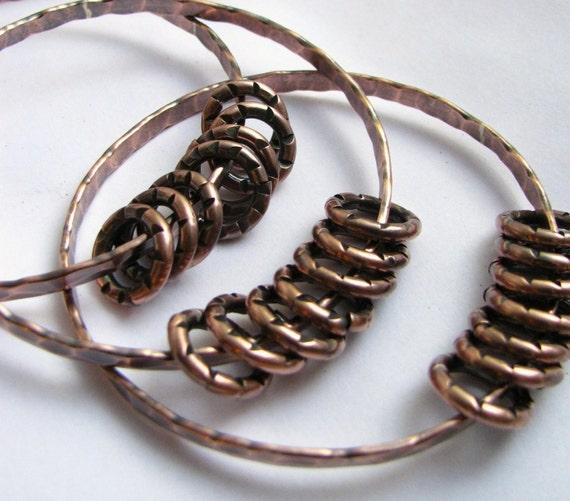 Jingling Rustic Copper Bangle Bracelets -Metalsmith Copper Jewelry -  Copper Bracelets
