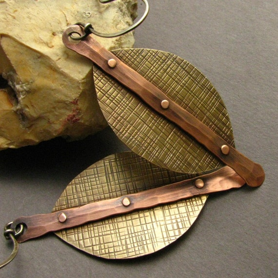 Large Mixed Metal Earrings - Copper,  Brass And Sterling Silver Riveted Rustic Earrings - Modern Tribal Jewelry