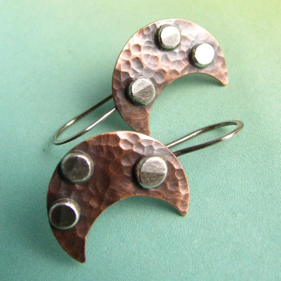 Small Rustic Copper Earrings -  Tribal Moon Small Mixed Metal Earrings - Artisan Metalsmith Jewelry