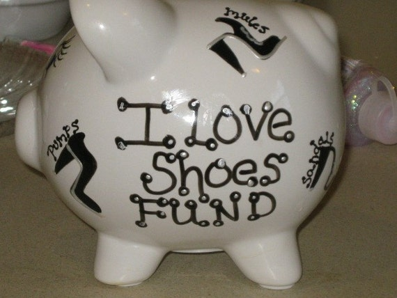 I love shoes piggy bank