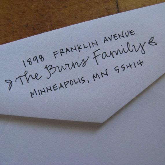 Ursula Address Stamp (Red Rubber on Wood Block)