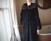 1950s astrakhan coat with mink collar // size medium