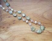 Ethereal - 17.5 inch Necklace - Green Kyanite, White Moonstone and Freshwater Pearl