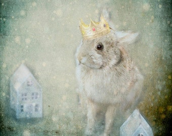 Surreal Rabbit Photo, Rabbit Photo, Bunny Art, Bunny Print, Rabbit Print, Nursery Art,  Surreal Photo, Whimsical Photo, Taxidermy Rabbit