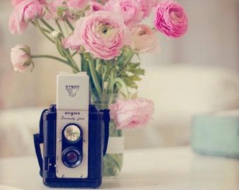 Still Life Photo, Vintage Camera Photo, Pink Ranunculus, Ranunculus Photo, Flower Photography, Pink, Camera Photo, Still Life, Pastel
