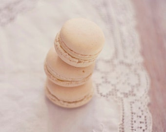 Still Life Photography - Food Photo Kitchen Art White Macarons Food Art Whimsical Print Laudree French Feminine Still Life Food Photo