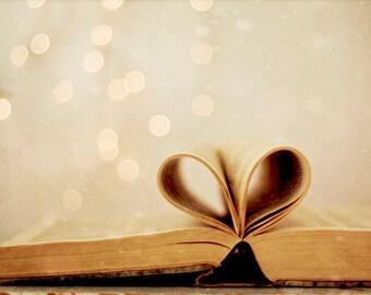 Book Photo,  Heart Book Photo, Bokeh Photography, Heart Photo, Valentines Day, Love, Brown, Bokeh, Heart Print, Book Love, Neutral Art
