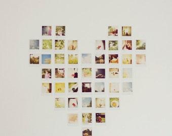 Polaroid Photography - Hipster Polaroid Print Heart Love Valentine's Day Nursery Decor Vintage Retro Minimalistic Art Whimsical Photo