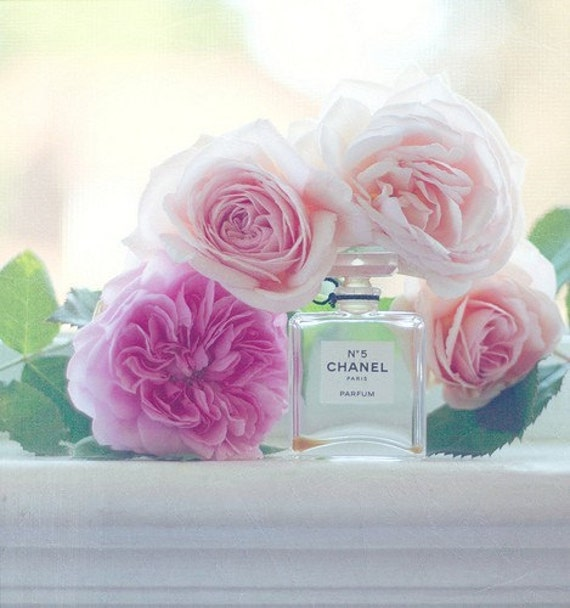 Still Life Photography - Old English Roses Print Pink Pastel Romantic Home Decor Chanel 5 Feminine Still Life Print Cabbage Roses Photo