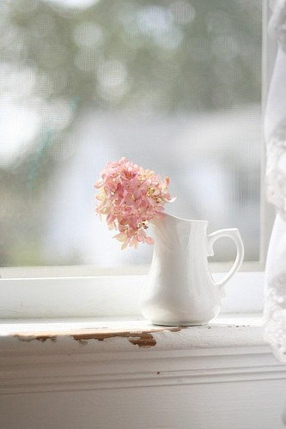 Still Life Photography, White Home Decor, Hydrangea Photo, Flower Photography, Pink Flower Photo, Fine Art Photography, Pink Nursery Art