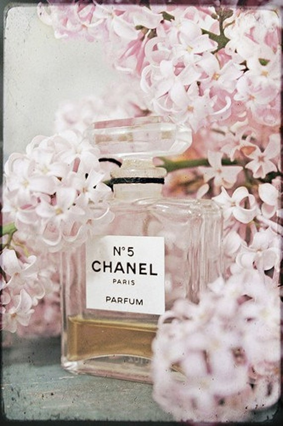 Still Life Photography - Chanel Perfume Photo Lilacs Pink Feminine Print Romantic Art Still Life No. 5 Vintage Style Pastel Botanical Floral