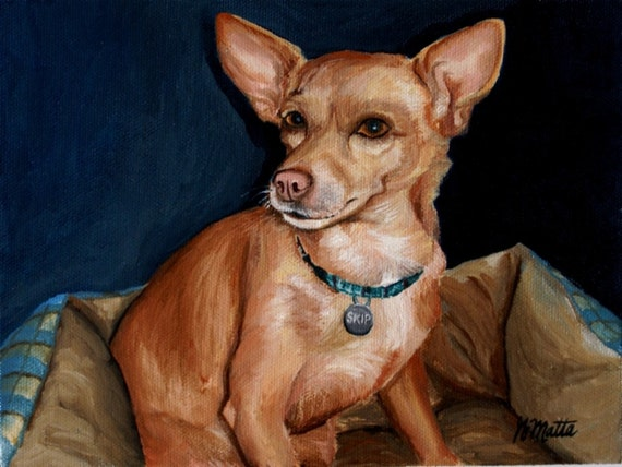 "Custom Oil Painting Pet Portrait 8""x 8"""