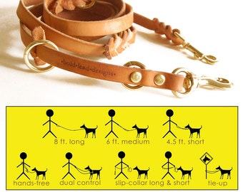 8x8 Lead in TAN -- 8 ft. L-O-N-G 8-Way versatile leather dog lead