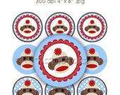 Instant Download - Monkey Boy Bottle Cap Digital Art Collage Set 1 Inch Circle Brown White Blue 4x6