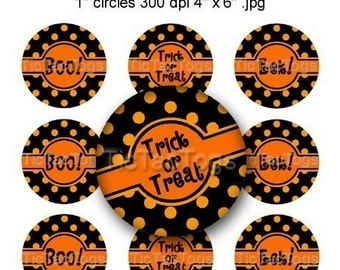 Halloween Polka dot Sayings Bottle Cap Images Digital 1 Inch Circle Digi 4x6 JPEG - Instant Download - BC212