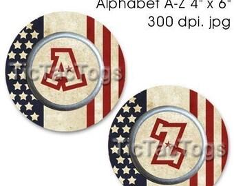 SALE - American Vintage Stars 'n Stripes Bottle Cap Digital Set I 1 Inch Circle Alphabet Alpha A-Z Patriotic 4X6 - Instant Download