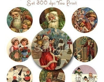 Christmas Victorian Bottle Cap Images Art Set 1 Inch Circles Vintage Digi Digital 4x6 - Instant Download