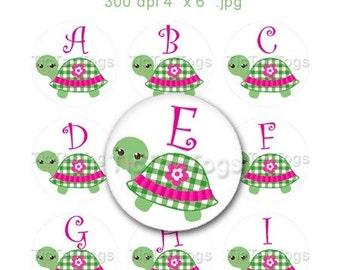 Cute Turtle Flower Bottle Cap Digital Images Set 1 Inch Circle Alphabet Alpha A-Z Images 4X6 - Instant Download - BC317