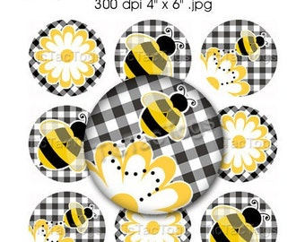 Gingham Bee Flower Bottle Cap Digital Art Collage Set 1 Inch Circles Digi Scrapbook 4x6 - Instant Download - BC392