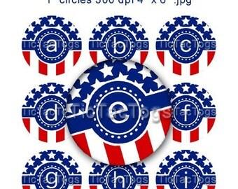 Instant Download - Stars 'n Stripes Cigar Band Polka-dot Alphabet Bottle Cap Images Digital Art Collage Set 1 Inch Circle A-Z Digi 4x6