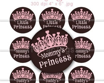 Princess Sayings Bottle Cap Digital Art Collage Set 1 Inch Circle Stickers Heart 4x6 - Instant Download - BC408