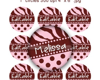 Editable - Pink Brown Zebra Polka dot Bottle Cap Collage Digital Set 1 Inch Circle 4x6 JPEG