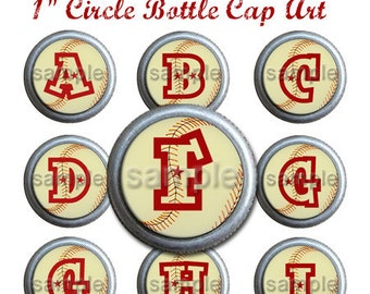 All American Baseball Bottle Cap Digi Alpha 1 Inch Circle Stickers A-Z Red Star Vintage Grunge 4X6 - Instant Download - BC125