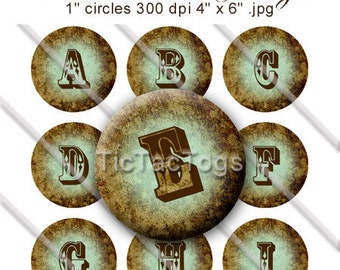 Vintage Western Grunge Bottle Cap Digital Set 1 Inch Circle Alphabet Alpha A-Z 2 Set 4x6 - Instant Download - BC393