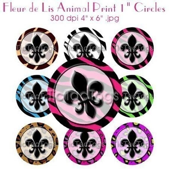 Fleur de Lis Animal Print Bottle Cap Digital Art Collage Set 1 Inch Circle Stickers 4X6 - Instant Download - BC132