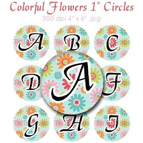Colorful Flowers Alphabet Bottle Cap Digital Art Collage Set 1 Inch Circle A-Z 4x6 - - Instant Download - BC233