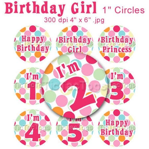 Birthday Girl Bottle Cap Art Set Polka dot 1 Inch Circles Round Graphics Digi Collage 4x6 - Instant Download - BC322