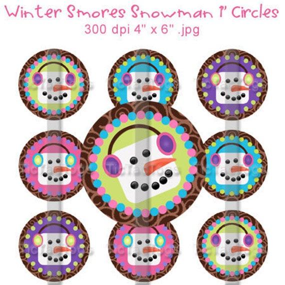 SALE - Winter Smores Snowman Snowgirl Bottle Cap Images Digital 1 Inch Circle M2M - Instant Download - BC371