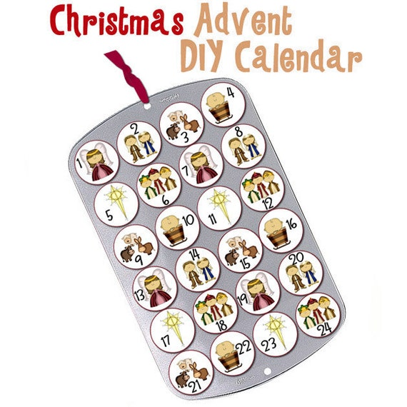 Instant Download - Christmas Cupcake Muffin Tin Advent Calendar Nativity Countdown Baby Jesus Mary Joseph Wiseman North Star PDF Digital