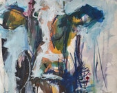 Original Modern Abstract Cow Painting. Save 15 percent off ALL paintings through March.