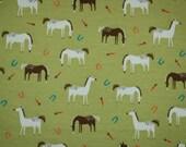 Grazing Horses cotton knit fabric . 1 yard.  Cute