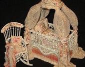Canopy Crib and Rocking Chair... wicker baby nursery bassinet set