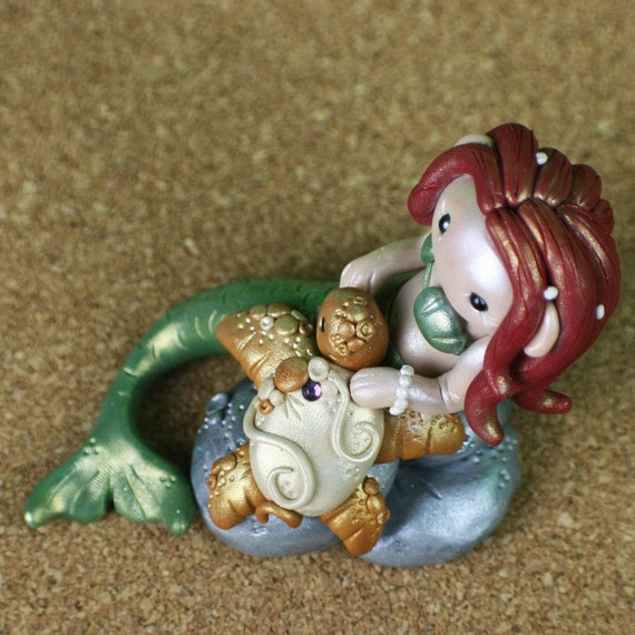 Red Haired Mermaid and Turtle