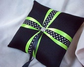 Black Satin White Polka Dot with Rhinestone Accent Bridal Wedding Ring Bearer Pillow