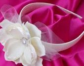 Ivory Satin Flower Girls Bridal Headband Silk Flower Tulle Leaves Leaf Pearl Rhinestone Button Accent