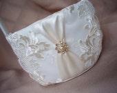 Elegant Ivory Bridal Lace Pearl and Rhinestone Accented Wedding Bridal Flower Girl Basket