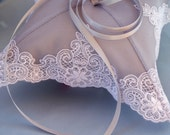 Petitie Silver Grey White Embroidered Bridal Lace Wedding Ring Bearer Pillow