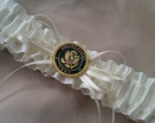 USA Army Ivory Bridal Wedding Garter for Military Brides