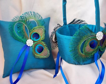 Peacock Feather Teal Rhinestone Accent Bridal Wedding Ring Bearer Pillow Flower Girl Basket