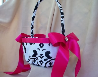Traditional Black White Damask Fuchsia Wedding Bridal Flower Girl Basket