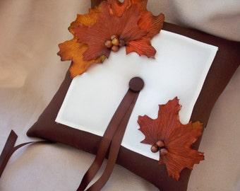 Dark Brown Ivory Ring Bearer Pillow Silk Leaves Berry  Ribbon Wedding