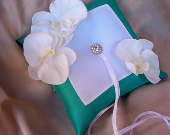 Mermaid White Orchids Ring Bearer Pillow Rhinestone Wedding Ring Bearer Pillow Blue Green